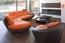 מערכת ישיבה כתומה מעור - רהיטי מוביליה