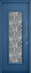 דלת כניסה כחולה בשילוב צוהר זכוכית