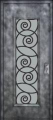 דלת כניסה מעוטרת מפלדה