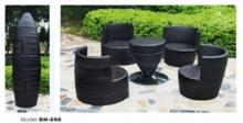 פינת ישיבה שחורה לגינה