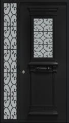 דלת כניסה שחורה לחזית הבית