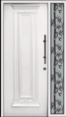 דלת כניסה לבנה עם צוהר