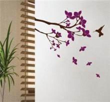 מדבקת קיר ציפור ופרחים