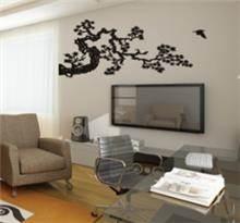 מדבקת קיר ענף קוצני וציפור