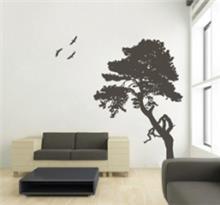 מדבקת קיר עץ וציפורים
