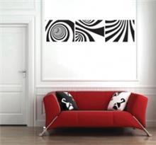 מדבקת קיר רטרו שחור לבן בשלושה חלקים