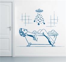 מדבקת קיר רטרו במקלחת