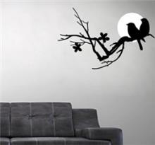 מדבקת קיר ציפורים על רקע ירח