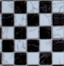 פסיפס זכוכית שחור לבן - חלמיש