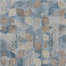 טפט גאומטרי כחול בז' 2301005-5 - חלמיש