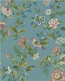 טפט צמחים וציפורים על רקע כחול - גולדשטיין גלרי טפט
