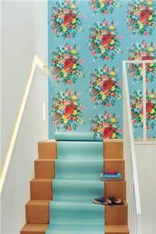 טפט פרחים על רקע תכלת - גולדשטיין גלרי טפט