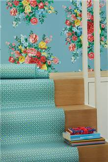 טפט זר פרחים על רקע תכלת - גולדשטיין גלרי טפט