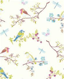 טפט פיפ ציפורים ופרפרים על רקע לבן פנינה פיפ סטודיו