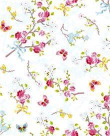 טפט פרחים ופרפרים על רקע לבן - גולדשטיין גלרי טפט