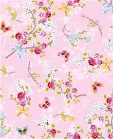 טפט פרחים ופרפרים ברקע ורוד