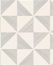 טפט גאומטרי משולשים שחור שמנת - גולדשטיין גלרי טפט