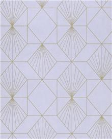 טפט גאומטרי זהב על סגול לילך - גולדשטיין גלרי טפט