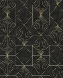 טפט גאומטרי זהב על שחור מוזהב - גולדשטיין גלרי טפט
