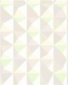 טפט משולשים צבעוניים בגווני ירוק, שמנת ומוקה - גולדשטיין גלרי טפט