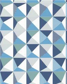 טפט משולשים צבעוניים, כחול, טורקיז, אפור, לבן - גולדשטיין גלרי טפט