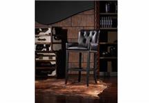 כיסא בר שחור מעור - היבואנים