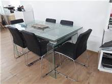 שולחן זכוכית + 6 כסאות - היבואנים