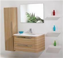ריהוט לאמבטיה בגוון עץ