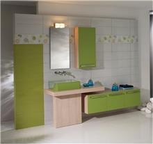 ריהוט אמבטיה בגוון ירוק
