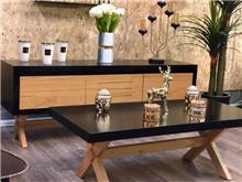 סט מזנון ושולחן לסלון - אלון בשילוב שחור - אלוף המזרונים