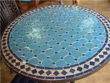 שולחן פסיפס כחול