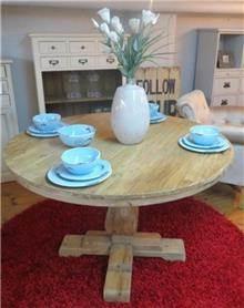 שולחן עגול עץ אלון