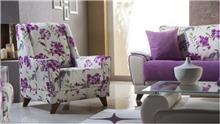 כורסת פרחים סגול לבן - אלבור רהיטים