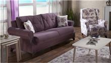 ספה סגולה תלת מושבית - אלבור רהיטים