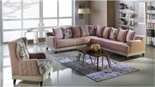 ספה פינתית בורוד בהיר - אלבור רהיטים