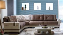 ספה פינתית חום לבן - אלבור רהיטים