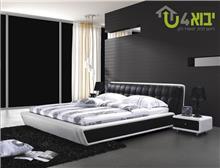 מיטת עור שחור לבן