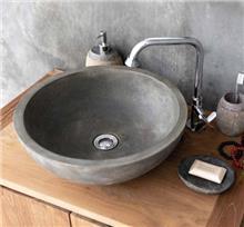 כיור בטון מעוצב דגם סטון עגול גוון טבעי - א.ישראלי
