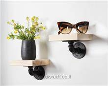 זוג מדפים מעץ טבעי - א.ישראלי
