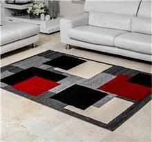 שטיח ריאליטי ריבועים שחור אפור