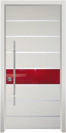 דלת כניסה מודרנית פס אדום - דלתות אלון