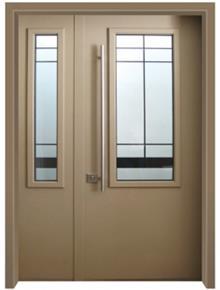 דלת כניסה פנורמי חום בהיר - דלתות אלון