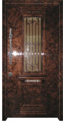 דלת יווני בגוונים חומים  - דלתות אלון