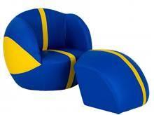 ספה בצורת כדורסל צהוב כחול