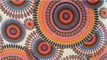 בד קנבס עיגולים בצבעים חמים - עיצוב על גלגלים