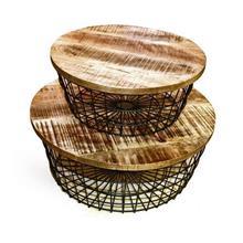 סט 2 שולחנות סלון עגולים עץ רשת