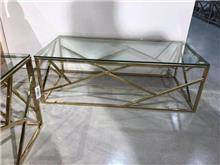 שולחן סלון נירוסטה טריגר מלבני זהב