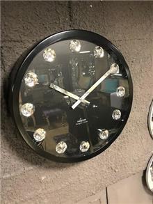 שעון קיר עגול שחור יהלום
