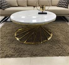שולחן סלון נירוסטה ספירל זהב