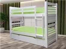 מיטת קומותיים משולשת מעץ מלא - Green house